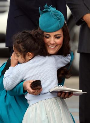 Dunedin five-year-old Matawhio Matahaere-Veint shares a moment with the Duchess of Cambridge....