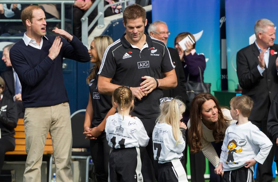 Prince William signals a time-out during the rippa rugby at Forsyth Barr Stadium.