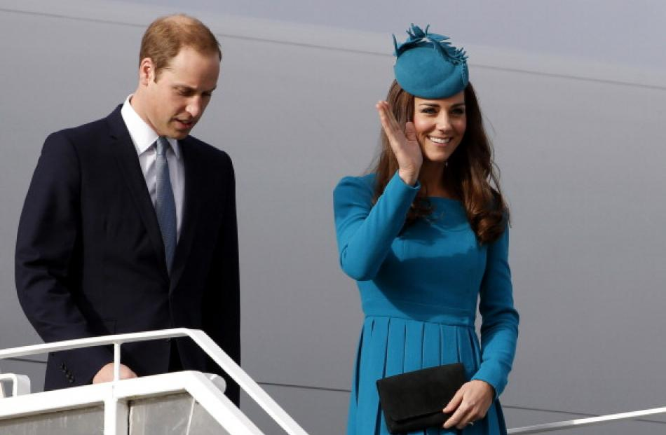 The royal couple arrive at Dunedin Airport. Photo by Getty