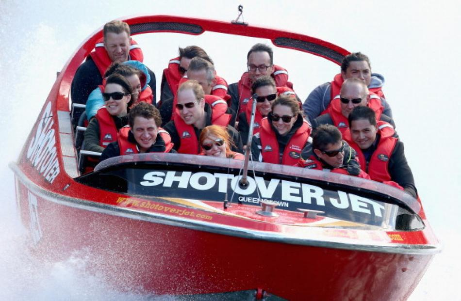 The royal couple on the Shotover Jet.  (Photo by Chris Jackson/Getty Images)