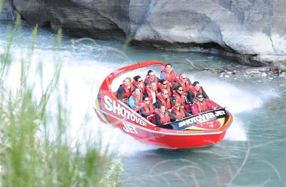 Prince William and Catherine ride the Shotover Jet.