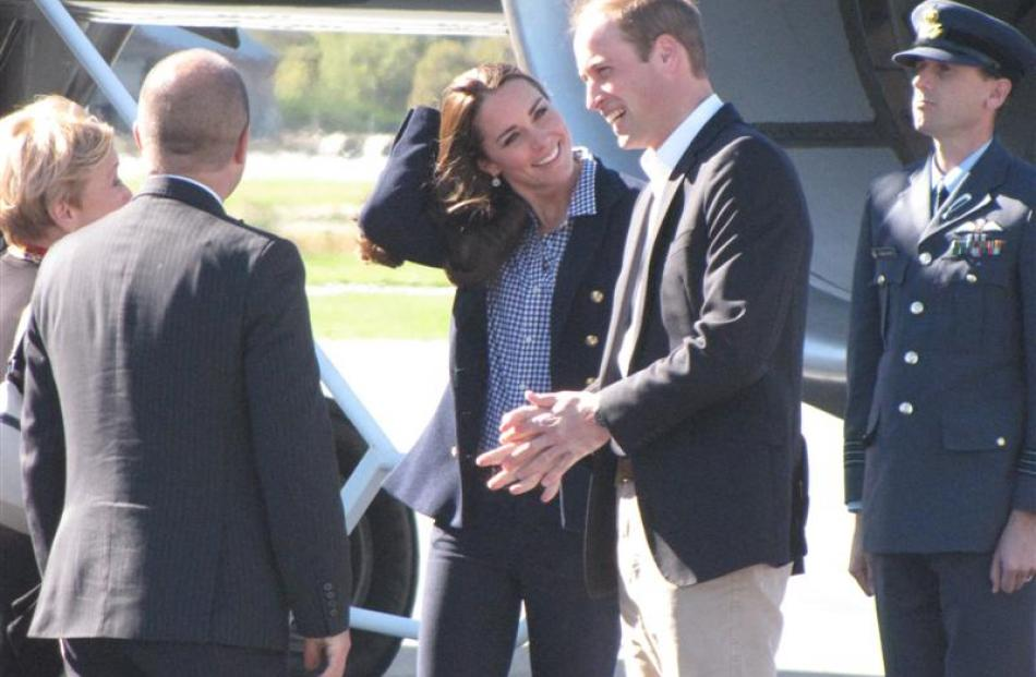 The Duke and Duchess of Cambridge are welcomed to Queenstown by Mayor Vanessa van Uden and her...