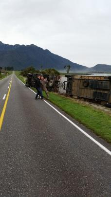 A truck was thrown off the road by strong winds at Te Taho, north of Whataroa on the West Coast....