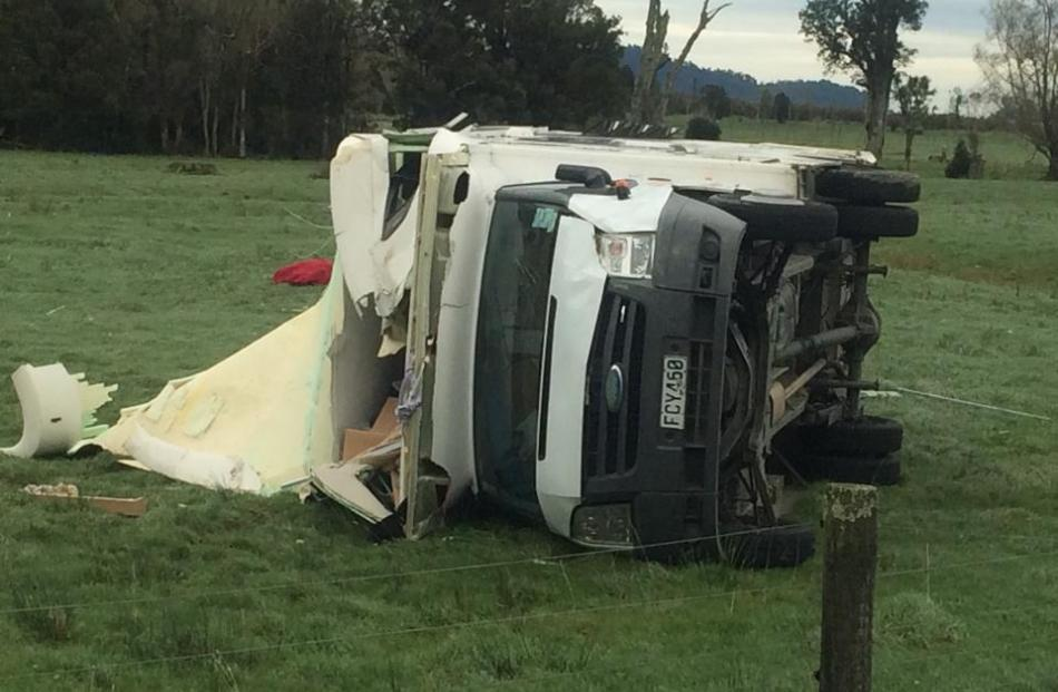 This campervan crumpled when it was blown into a paddock near Whataroa on the West Coast. Jackie...