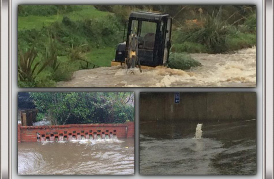 Jamie Smith sent this montage of a digger in lower Townsley Rd; water pouring threw a fence in...