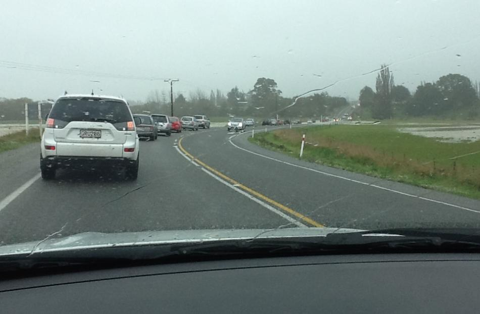 Traffic just north of Maheno around midday today. Photo Rachel Still
