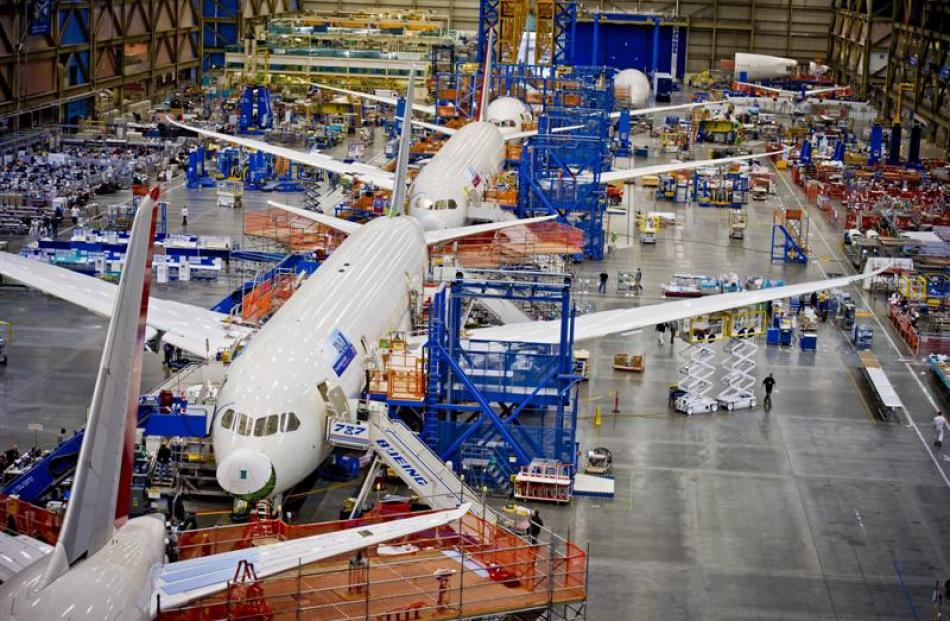 The 787 Dreamliner production line is as big as they come. Photo by Boeing.