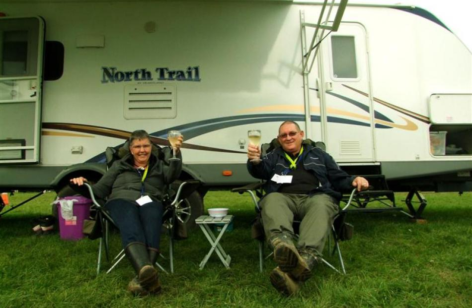 Denise and Bill Ross, of Motueka, relax after the rally on Sunday. Photos by Nigel Benson.