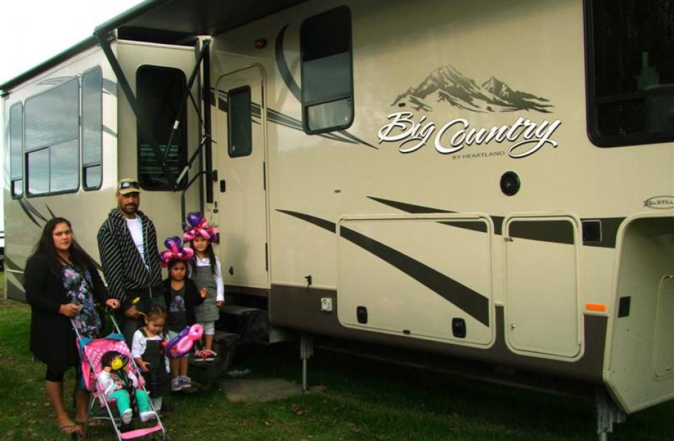 Liz Honigberg and Kata Moataane inspect a Heartland Big Country caravan at the New Zealand Motor...