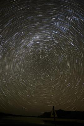 Star trails above Hoopers Inlet.