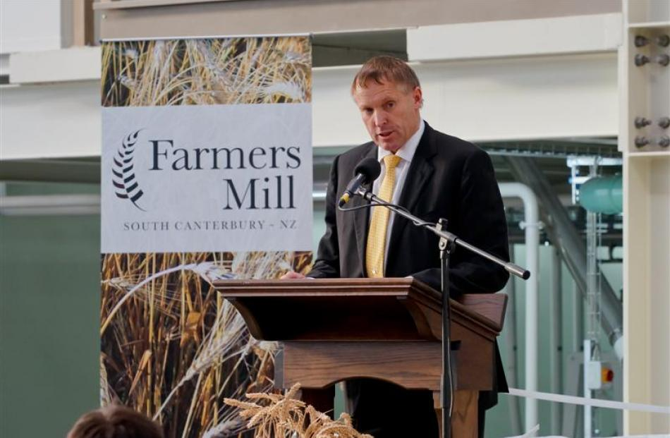 Farmers Mill chairman Murray Turley speaks at the official opening of the mill in May last year....