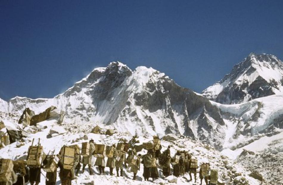 The expedition heads up Mt Everest from base camp.