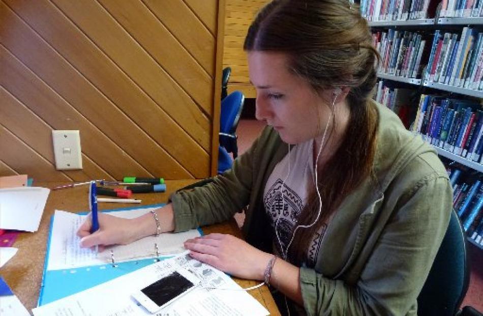 Samantha Trevathan studies for an exam.