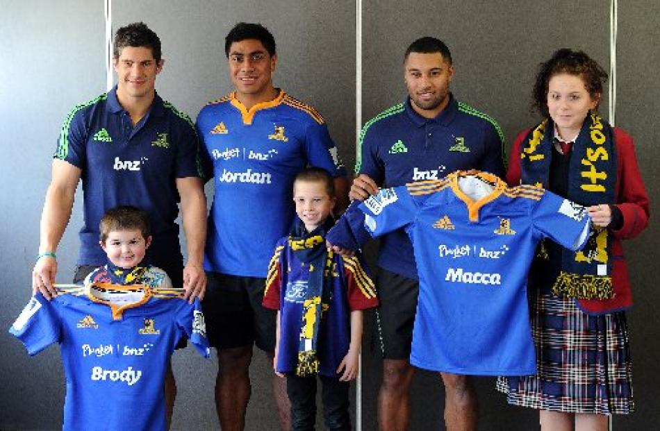 Burleigh with Brody, Malakai Fekitoa (centre) with Jordan Patterson, and Lima Sopoaga with Macca...