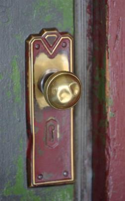 The front door handle.