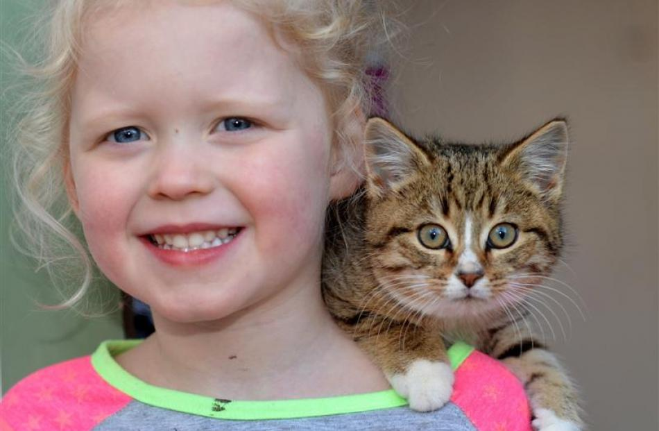 Gabby McGowan (4), of Mosgiel, with Lucy.