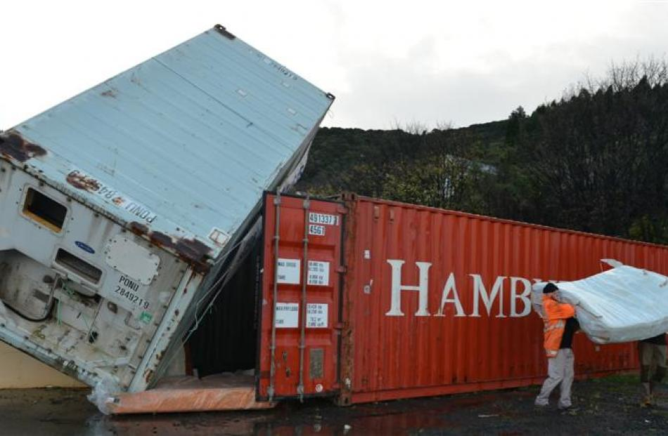 The toppled shipping container. Photo by Peter McIntosh.