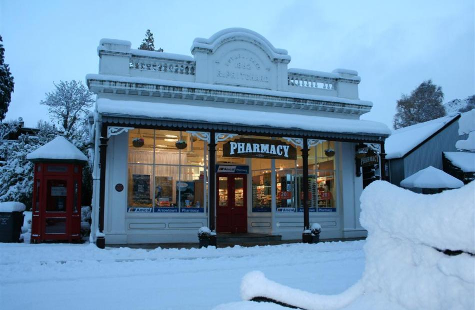 Arrowtown Pharmacy after last night's snow storm. Photo by 