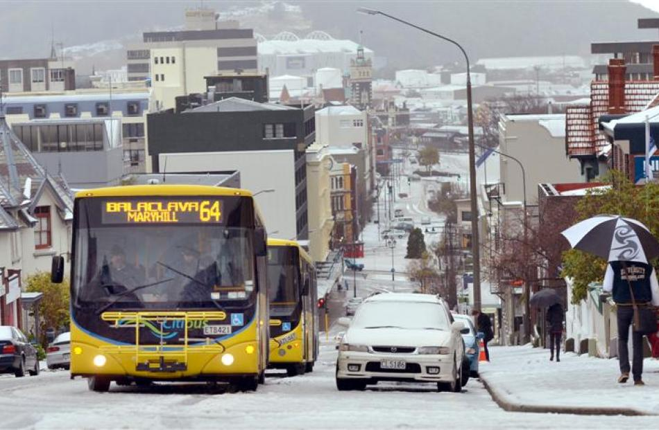 Buses stuck on High St in Dunedin yesterday.