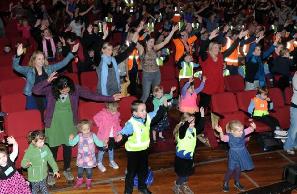 Dunedin school pupils rehearse Mamma Mia! at the Regent Theatre yesterday,  following the lead of...