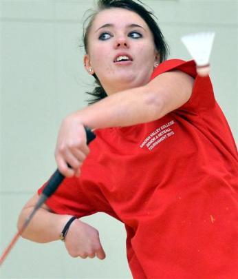 Jess Spinoglio (Kaikorai Valley College) demonstrates her badminton skills at the Bayfield High...