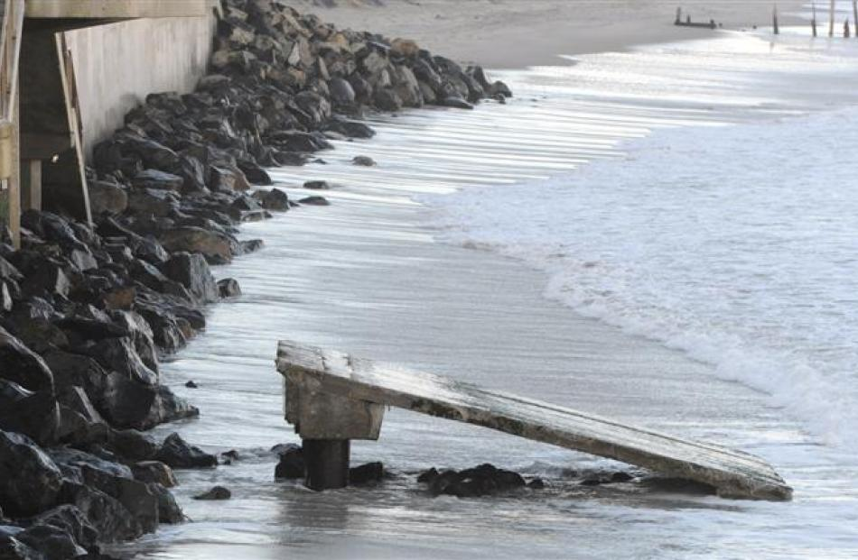 The remains of the St Clair Surf Life Saving Club's ramp. Photo by Craig Baxter.