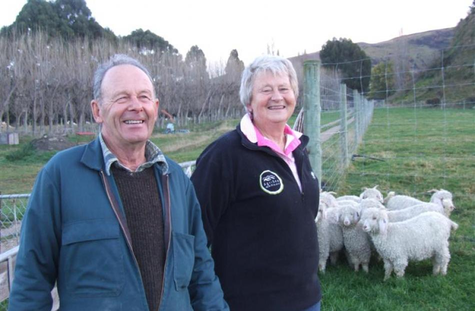 Angora breeders Bill and Irene Campbell on their farm at  Roxburgh. Photo by Sally Rae.