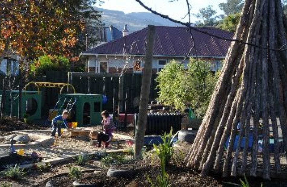 Manuka poles are used in teepees and forts in the outdoor play area that was developed around...