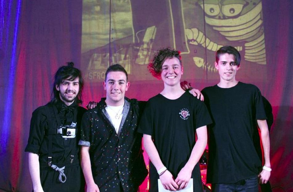 Otago Boys' High School alternative rock four-piece Chandeliers members (from left) drummer...