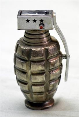 A cigarette lighter fashioned from a hand grenade.