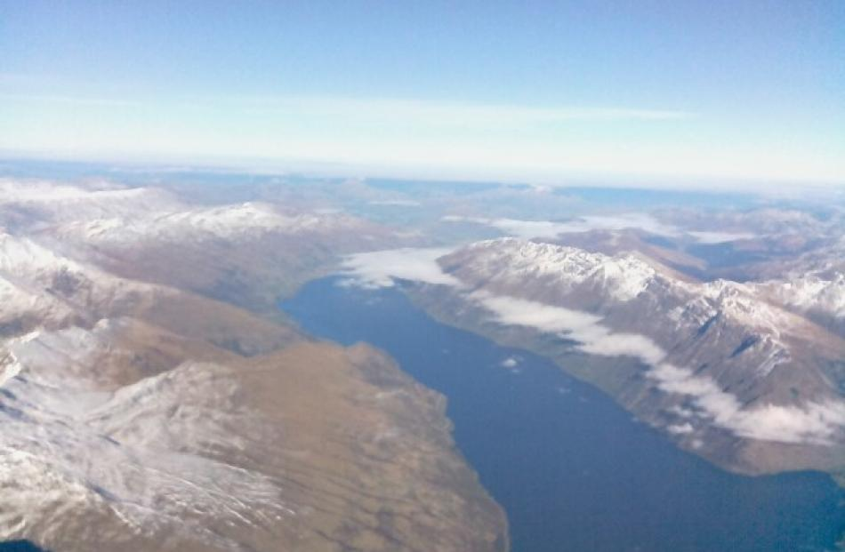 A horizontal view over Lake Wakatipu, believed to be from a height of about 3km. Photos supplied