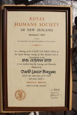 The Royal Humane Society certificate awarded to Lance Bunyan after he saved a man's life at St...