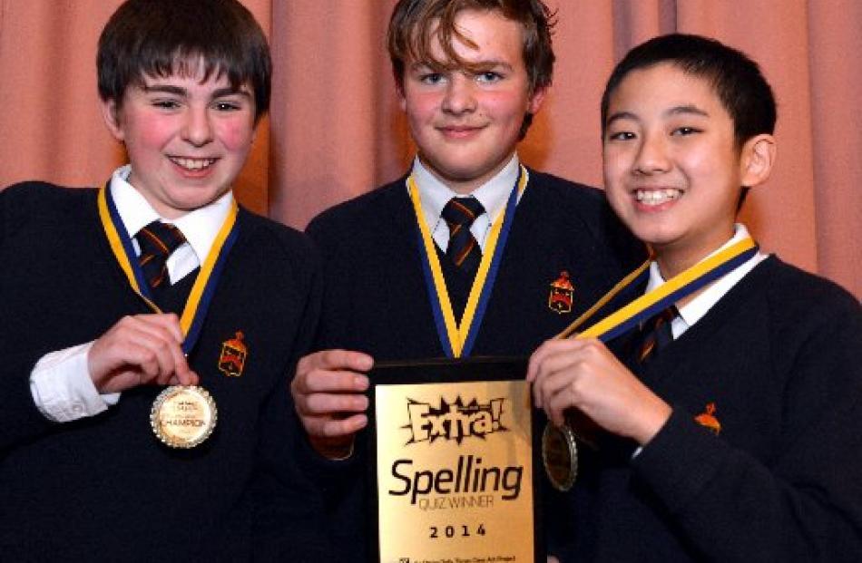 Alex Leckie-Zaharic (13), Jaiden Tucker (13) and Boen Deng (12), of John McGlashan College 1...