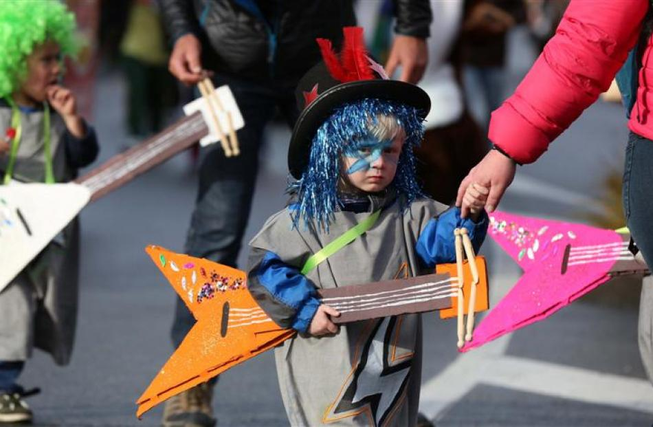 Oliver Clarke (3), of Queenstown, in the Winter Festival  parade. Photos by Craig Baxter.