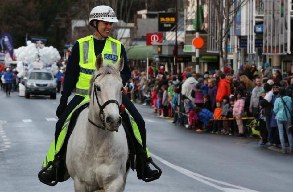 Sergeant Kate Pirovano, of Queenstown, on horseback during the parade.
