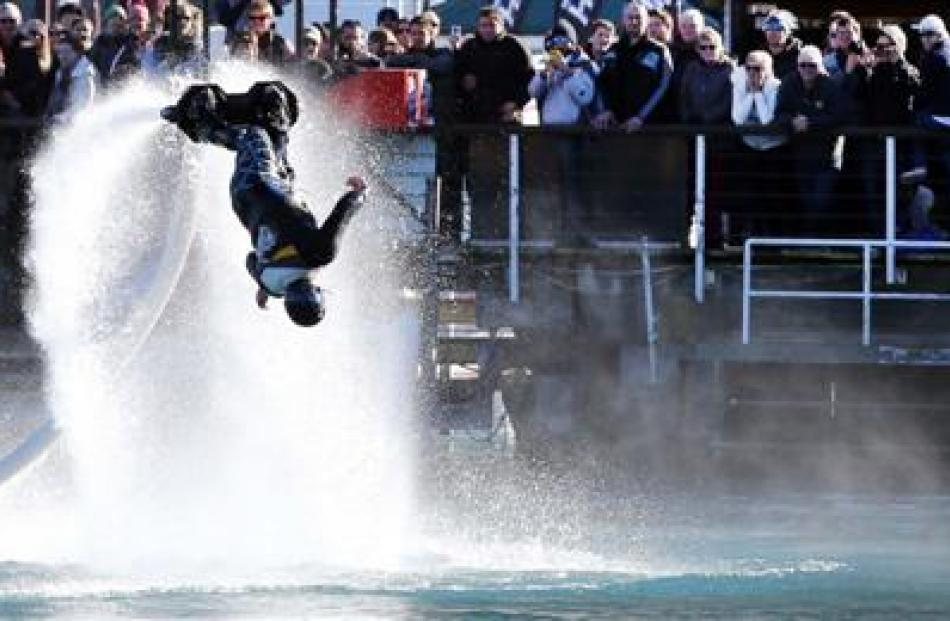A flyboarder during a demonstration on Lake Wakatipu.