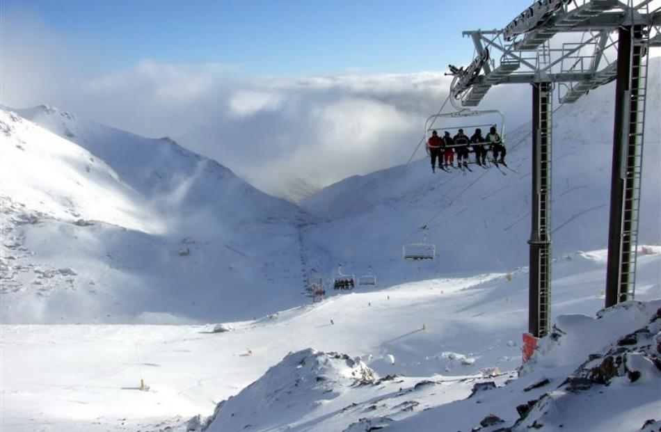The Remarkables ski area's new six-seater, 1.2km Curvey Basin chairlift began operating at 9.30am...
