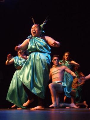 Wakatipu High School pupil Candace Carroll  (15) leads the performance of the Te Iti o Tahuna...