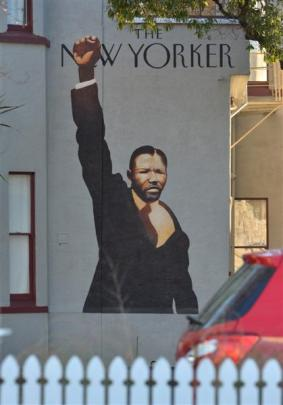 Nelson Mandela, by Dunedin artist Greg Lewis, on a Queen St house. Photo by Gerard O'Brien.