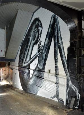 A piece by Phlegm in Moray Pl, Dunedin.