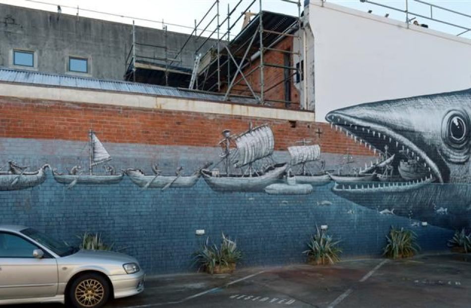 A piece painted by Phelgm on a visit to New Zealand earlier this year, in Vogel St, Dunedin.