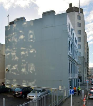 The Dunedin wall awaiting the touch of Chinese-born, South-African based street artist Dal East...