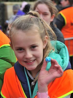 Emma-Rose Hollander (10), of Mosgiel, with a blue jaffa.