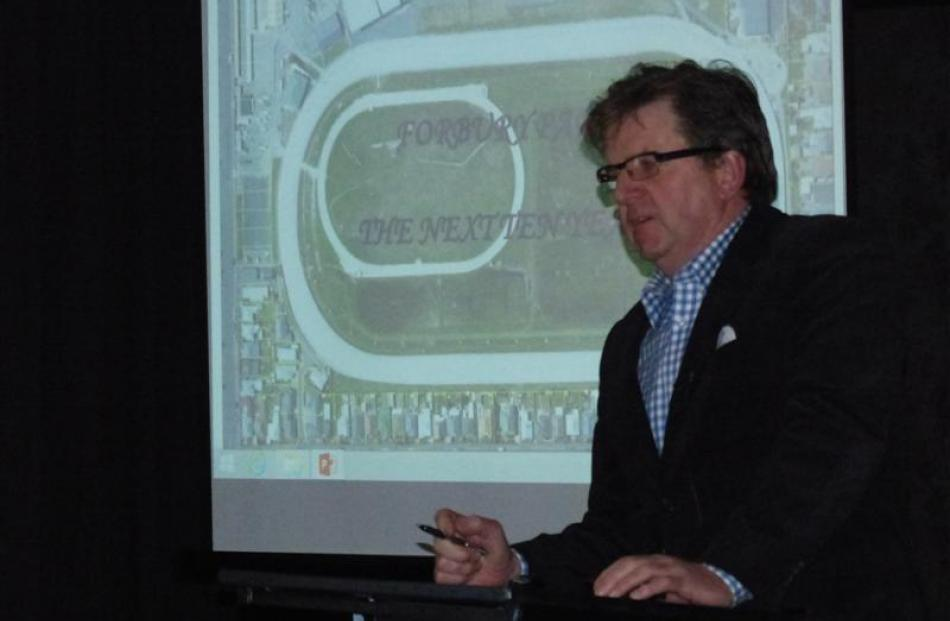 Forbury Park Trotting Club president Peter Gillespie outlines some of the club's plans to a...