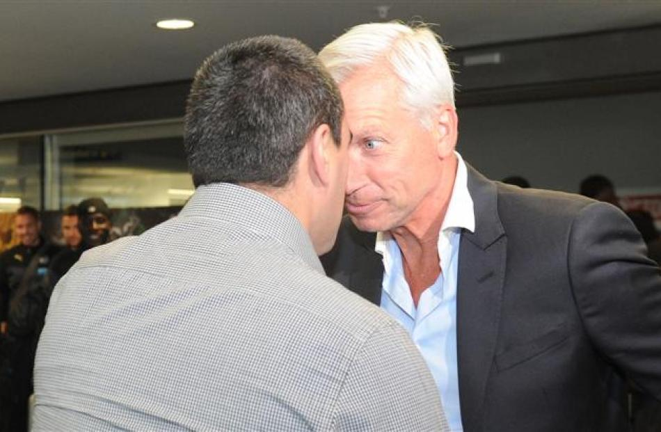 Newcastle United manager Alan Pardew exchanges a hongi with Komene Cassidy.  Photos by Craig Baxter.