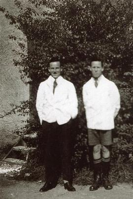 Ian Chirnside, aged 16, and his brother Alan, aged 14, as technicians at Otago University's...