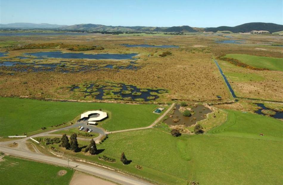 The Sinclair Wetland  between Lakes Waihola and Waipori on the Taieri Plain.