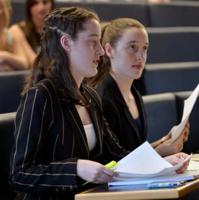 Columba College pupils, identical twins Ella (left) and Holly Barclay. Photos by Gerard O'Brien.