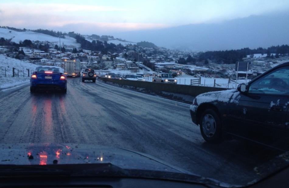 Motorists carefully negotiate icy roads. Reader photo by Allan Clark