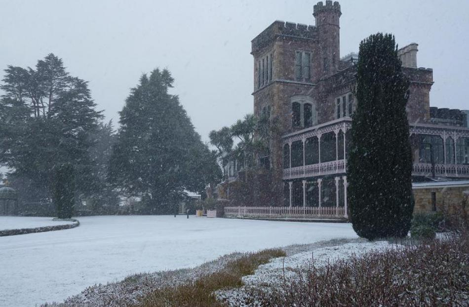 Snow at Larnach Castle this morning. Reader photo by Brian Langley